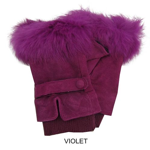 Fur Trim Suede Fingerless Gloves  -Violet
