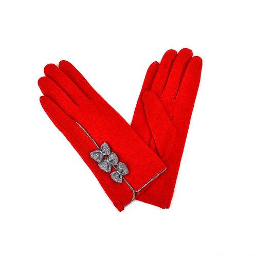 Triple Bow Design Ladies Wool Gloves - Red
