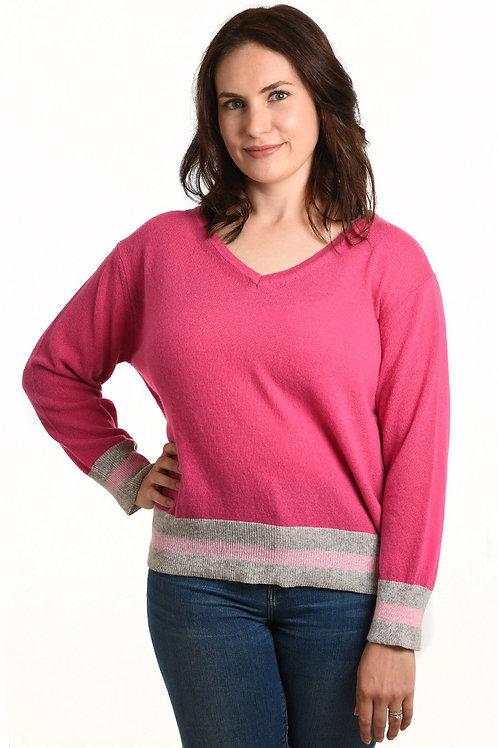 Cashmere blend jumper, contrast stripe - Hot Pink