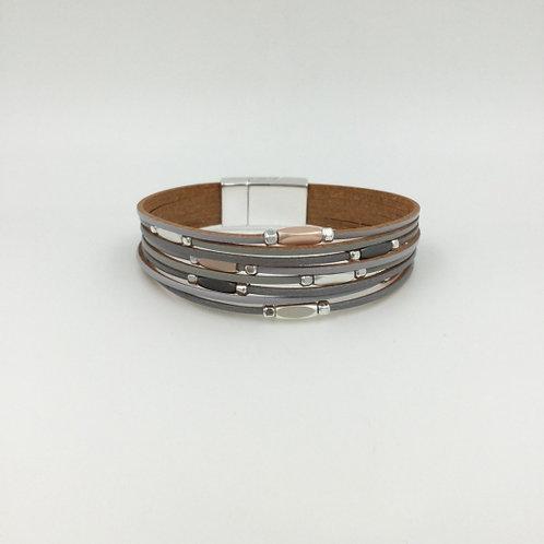 Grey beaded multi strand oval beads