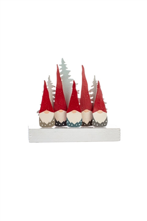 Five Gnomes on a Wooden Block
