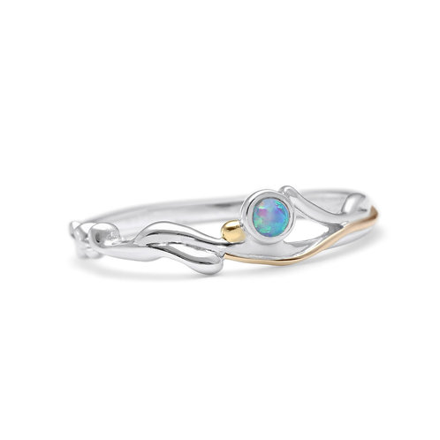 Slim Sterling ilver Ring with Round Blue Opalite -O