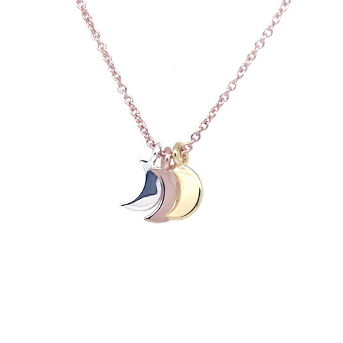 Triple Moon Pendant on a Rose Gold Chain