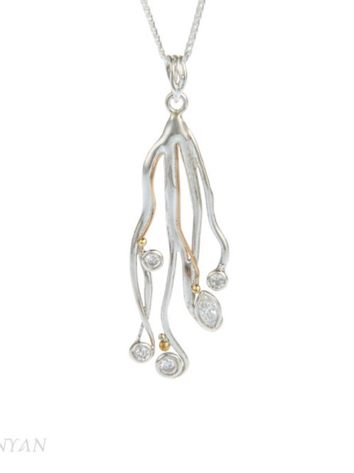 Silver, Gold Filled Zirconia Pendant