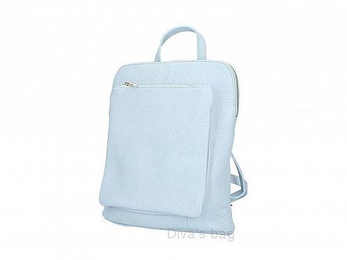 Light Blue Slim Backpack with Large Front Pocket