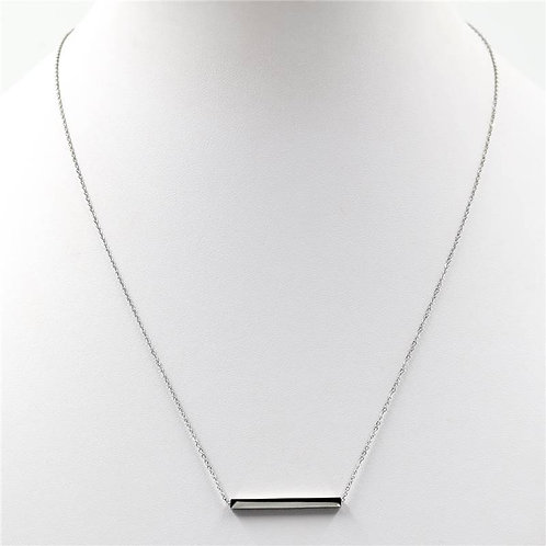 Stainless steel bar pendant on delicate chain necklace