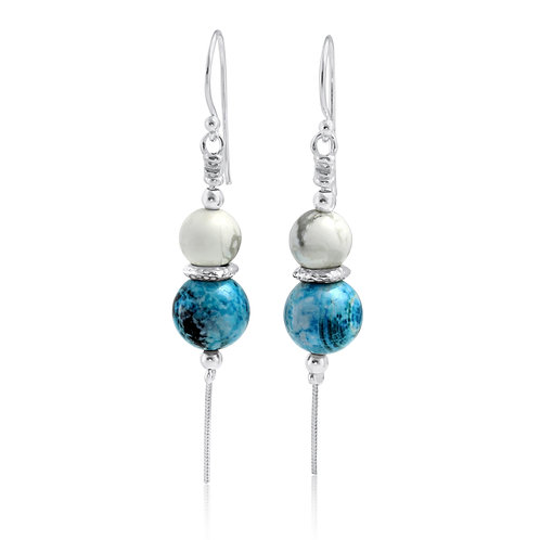 Blue Chalcedony and White Howlite Sterling Silver Earring