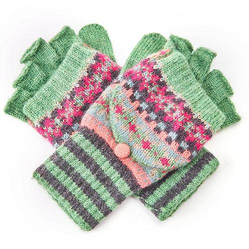 Checkerboard Wool Mix Fingerless Glove /Mitten - Green