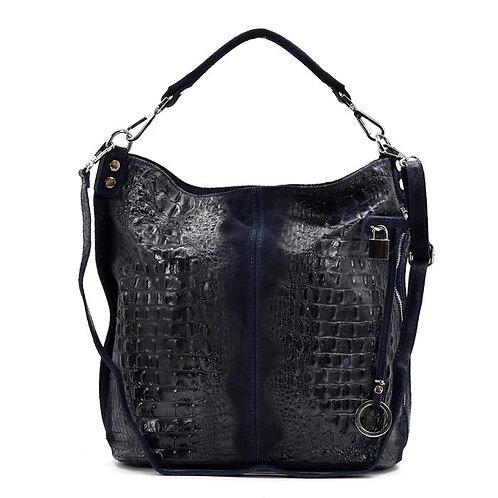 Crocodile patterned Italian leather handbag - Navy