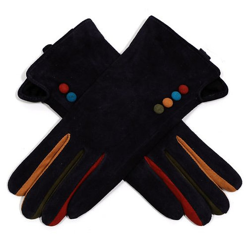 Suede Gloves with Colour Buttons - Navy