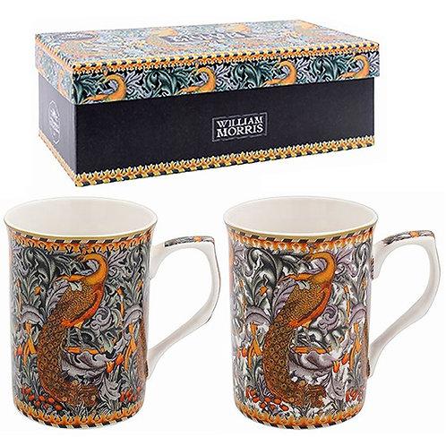 Set of 2 William Morris Mugs - Peacock