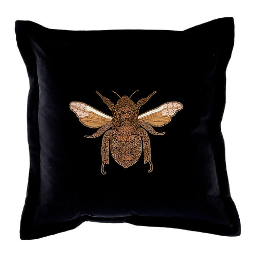 Voyage Velvet Bee Cushion -black