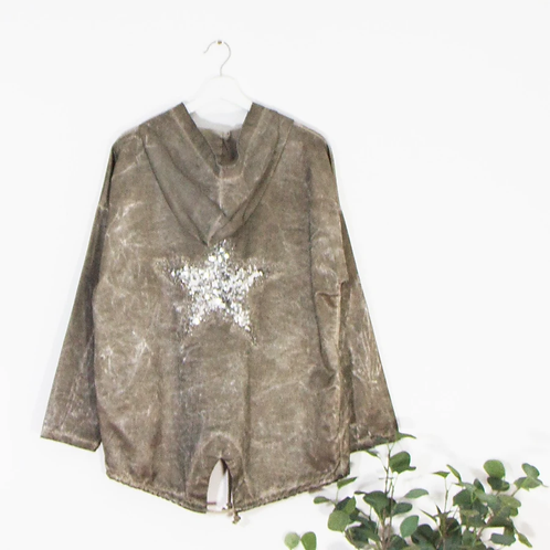 High shine hoodie with embroidered sequin -Taupe