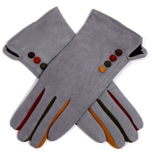Suede Gloves with Colour Buttons - Silver