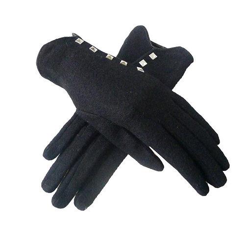 Studded Cross Panel Gloves -Black