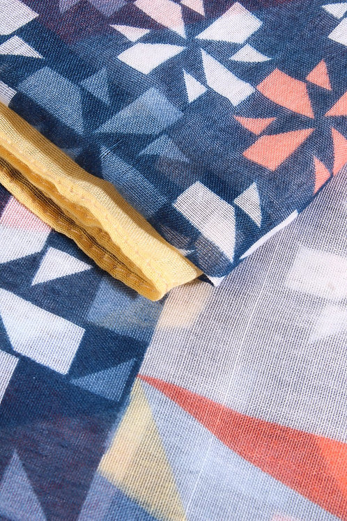 Scarf with geometric shapes and colour-block border - Yellow