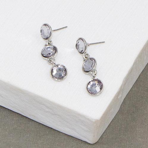 Three little black diamond crystal drop earrings