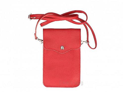 Bright Red - Crossbody Phone Purse  Italian Leather