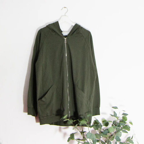 Plain jersey hooded jacket with zip- Green