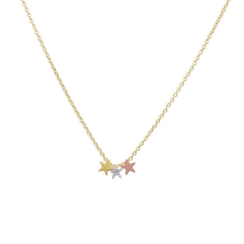 Triple Star Pendant on Gold Plated Chain