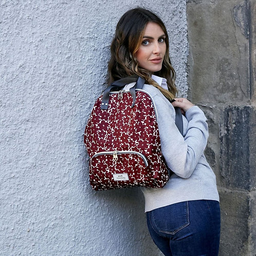 Oilcloth Backpack - Red Flower