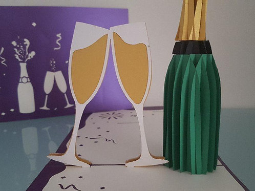 Congratulations Large Champagne Card