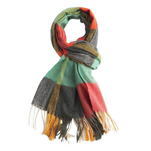 Multi Coloured Tartan Winter Scarf - Green