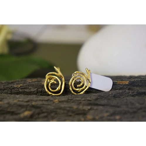 Spiral Jasmine Stud Earrings in Gold Plated Sterling Silver