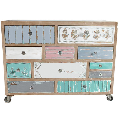Wooden Cabinet With Coloured Drawers  IN STORE ONLY