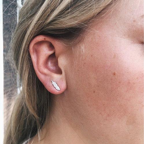 Feather Stud Earrings Sterling Silver