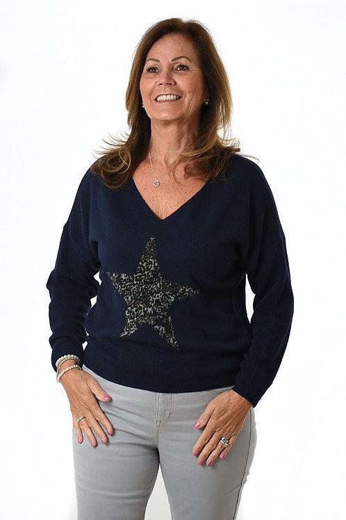 Metallic Dalmatian Star Top  -  Navy Silver