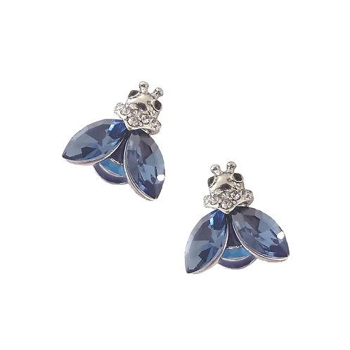 Silver Bee Stud Earring - blue