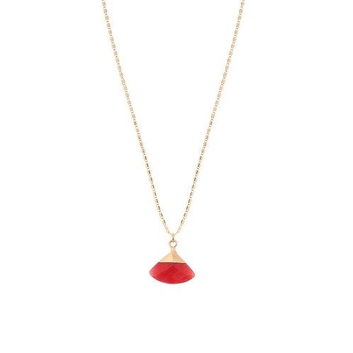 Red fan shaped stone delicate pendant