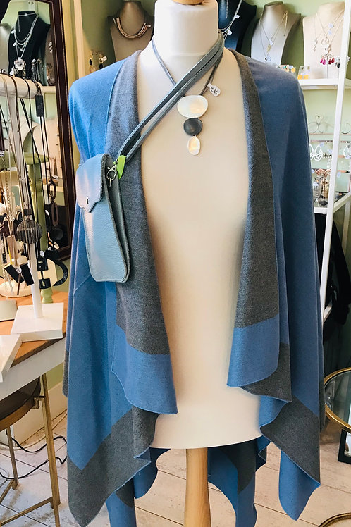 Blue and Grey Reversible Wool Mix Cape