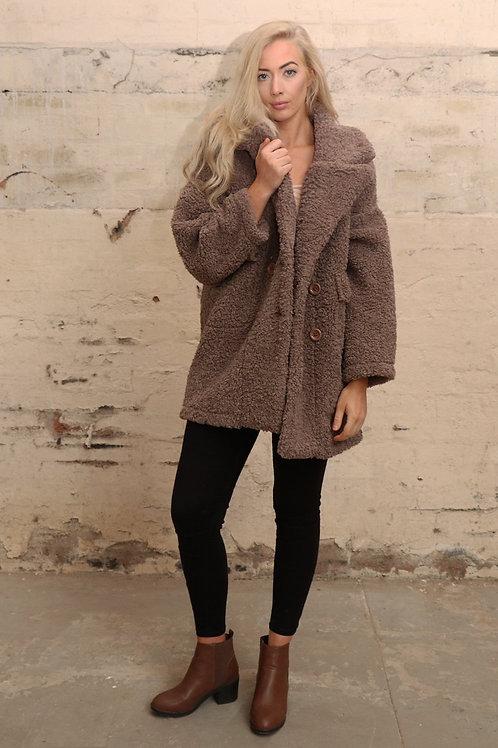 Faux Sheep Skin Reversible Teddy Coat Beige/brown