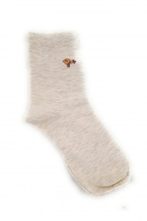 Bird Cotton Blend Ankle Sock - Light Grey