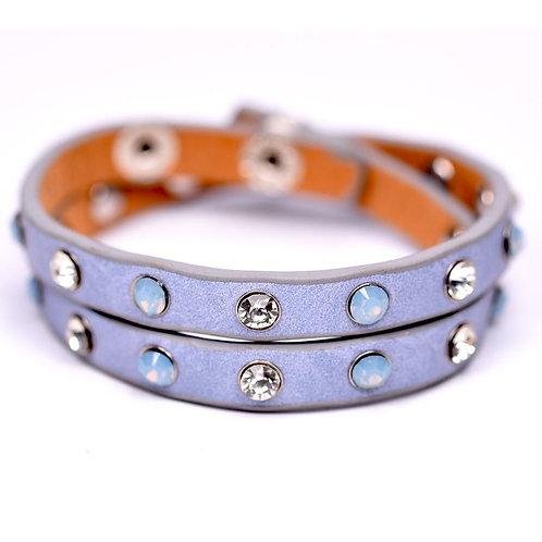 Wraparound bracelet with crystal opal studs -blue