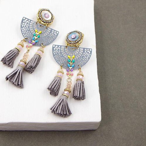 Crystal and suede tassel boho style earrings