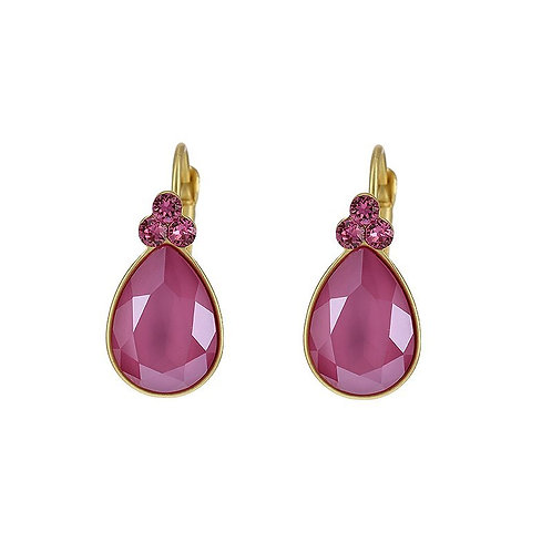 Pink gold plated drop earrings