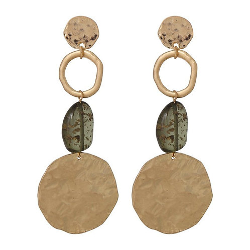 Olive and brushed gold circles drop earring with bead