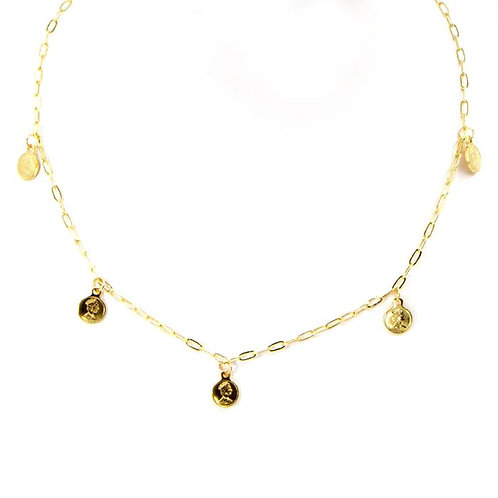 Mini delicate coin short necklace