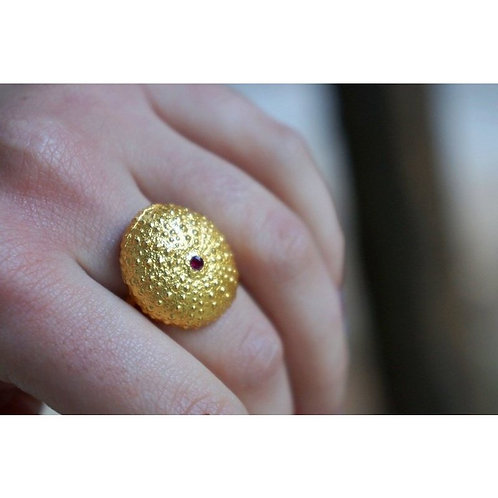 Size 19 - Urchin Ring in14k Gold Plating over Sterling Silver