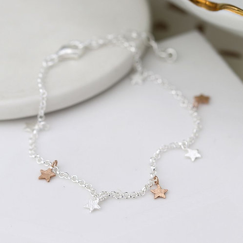 Sterling silver chain bracelet with mixed stars