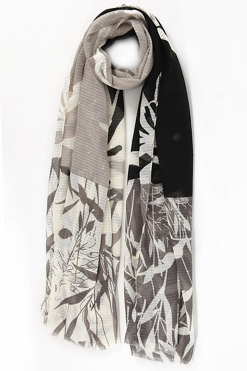 A grey and black colour block bamboo style scarf