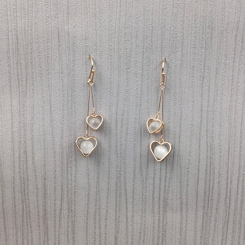 rose gold heart double earrings with bead