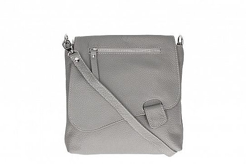 Slim  Cross Body Bag - Light Grey Italian Leather