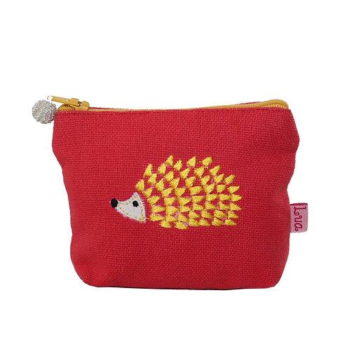 Embroidered Hedgehog Mini Purse - Coral