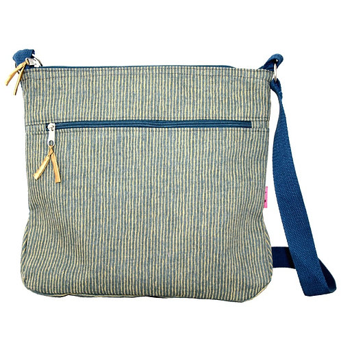 Large Messenger Bag - Light Grey Herringbone