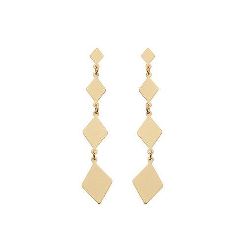 Four matt gold plated diamond drop earrings
