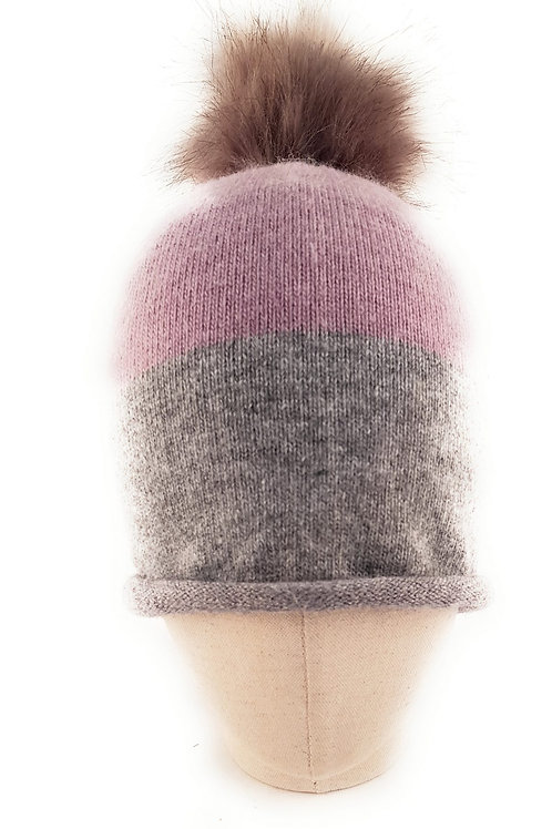 Cashmere blend bobble hat - Heather and grey